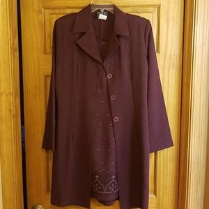 Women's dress with long suit jacket
